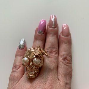 Alexander MCQueen rose gold skull bee ring